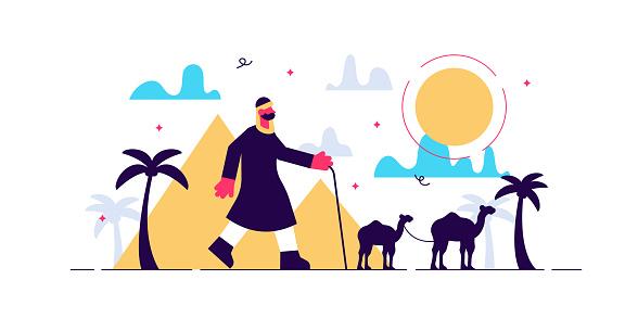 Nomads vector illustration. Flat tiny