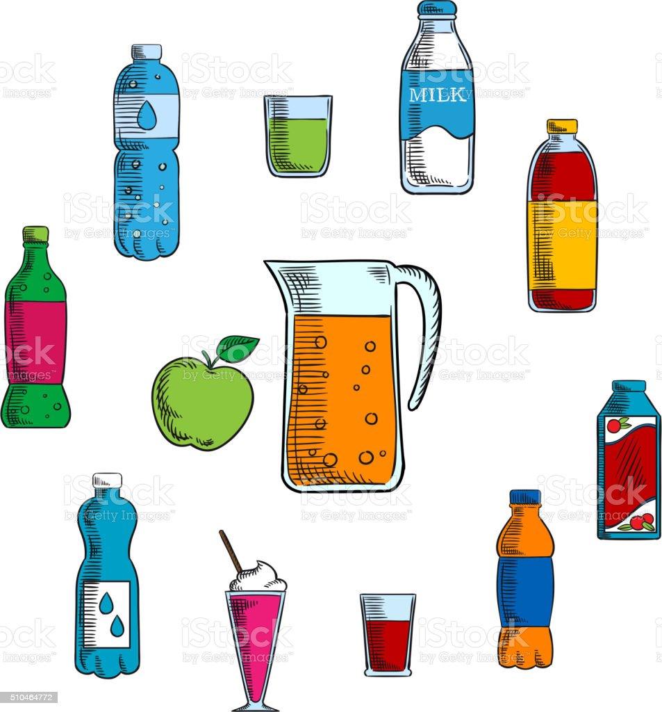 Alkoholfreie Getränke Und Getränke Stock Vektor Art und mehr Bilder ...
