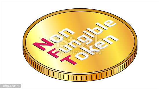 NFT non fungible token isometric text on golden coin isolated on white. Pay for unique collectibles in games or art. Vector illustration.