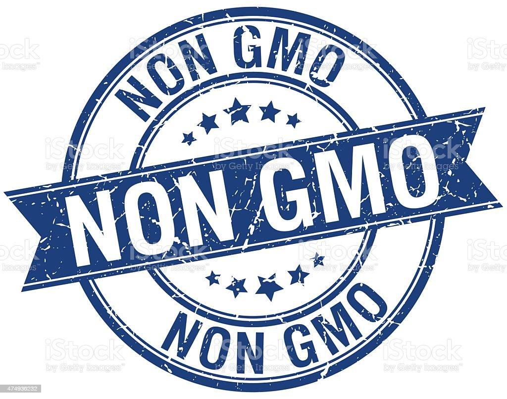 non gmo grunge retro blue isolated ribbon stamp vector art illustration