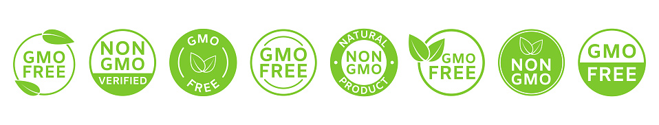 Non GMO labels. GMO free icons. Healthy organic food concept. No GMO design elements for tags, product packag, food symbol, emblems, stickers. Eco, vegan, bio. Vector illustration