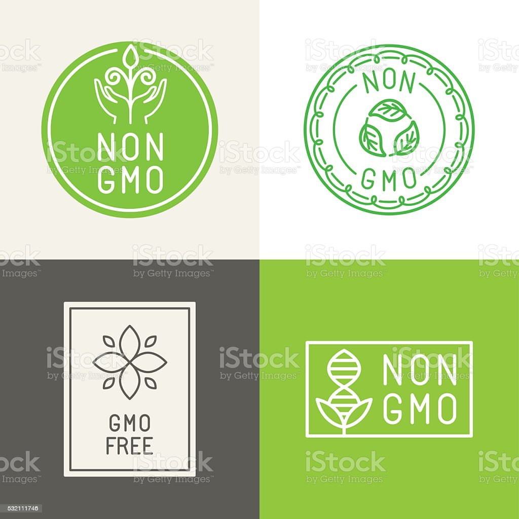 Non gmo  natural ingridients labels and emblems vector art illustration