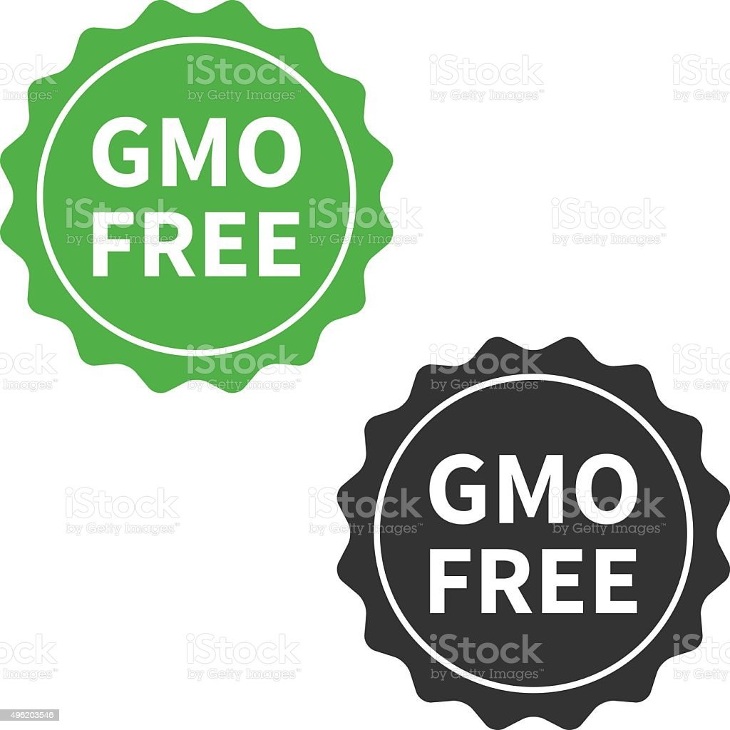 Non GMO or GMO free food packaging seal or sticker flat icon vector art illustration