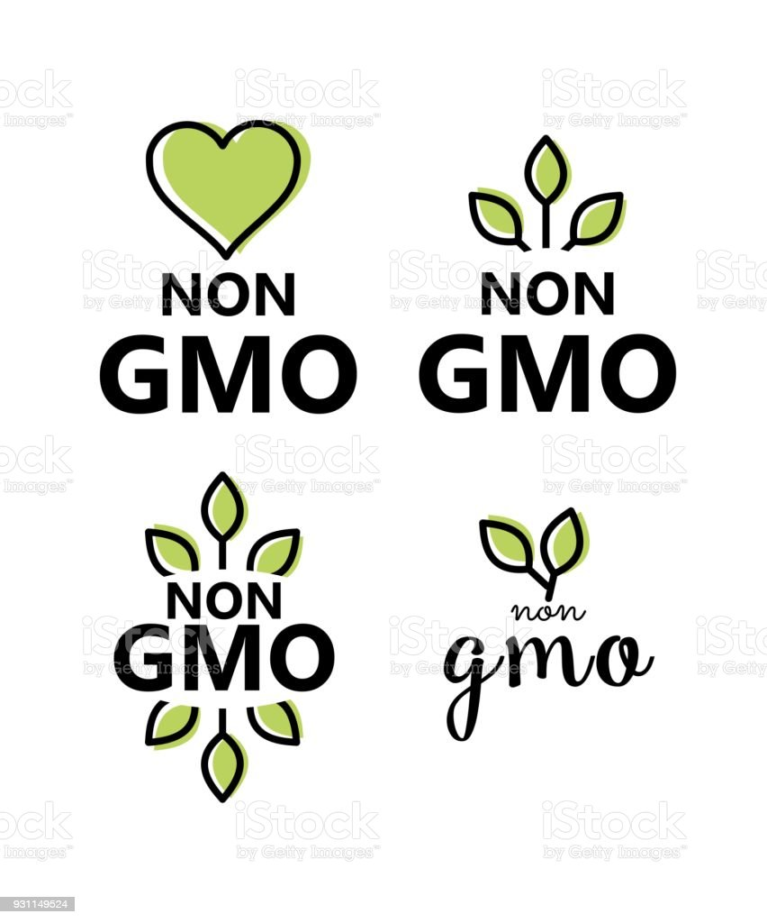 Non GMO sign vector set vector art illustration