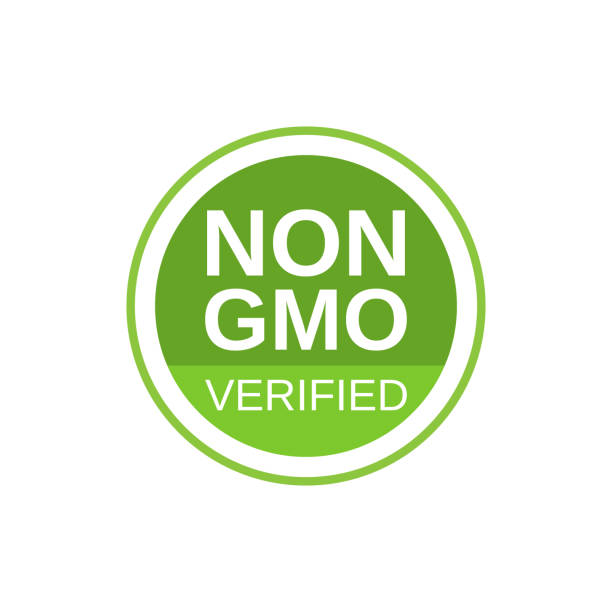Non GMO verified label. GMO free icon. No GMO design element for tags, product packag, food symbol, emblems, stickers. Healthy food concept. Vector illustration Non GMO verified label. GMO free icon. No GMO design element for tags, product packag, food symbol, emblems, stickers. Healthy food concept. Vector illustration. genetic modification stock illustrations