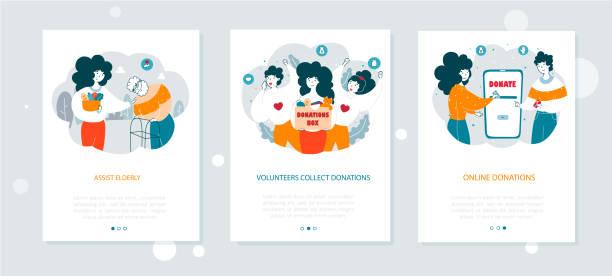 stockillustraties, clipart, cartoons en iconen met non-profit organisatie onboarding mobiele app scherm vector sjablonen set - non profit