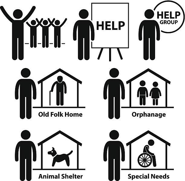 stockillustraties, clipart, cartoons en iconen met non profit social service responsibilities foundation volunteer - non profit