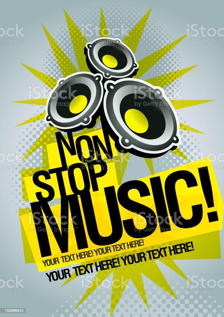 Non Stop Music vector art illustration
