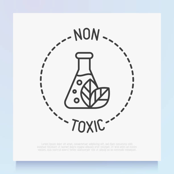Non toxic symbol. Thin line icon for organic product. Modern vector illustration. Non toxic symbol. Thin line icon for organic product. Modern vector illustration. poisonous stock illustrations
