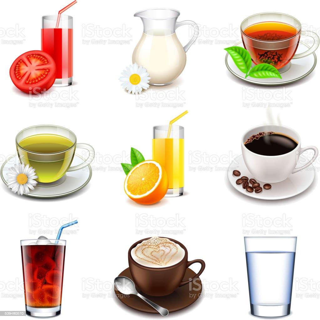 Non-alcoholic icons vector set vector art illustration