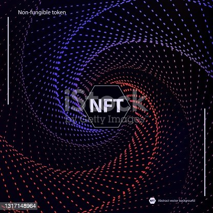 istock NFT non-fungible token concept of spiral movement dots abstract background. Vector dark web banner with twist hexagon lines gradient backdrop and non fungible token sign. Modern crypto art concept. 1317148964