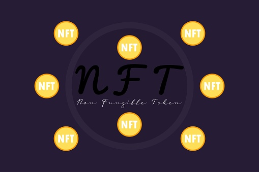 NFT nonfungible tokens vector background. Unique cryptocurrency nft on dark background.