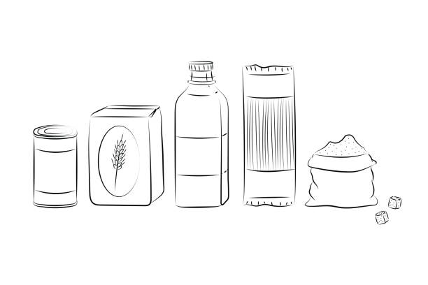 Non-perishable food illustration set. Canned good, flour, olive oil bottle, pasta and sugar. Isolated vector elements on white background. Hand drawn style digital illustration collection. food drive stock illustrations