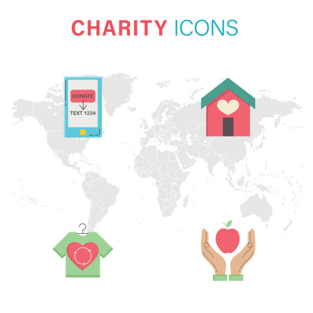 Non-Profit Icons Flat design icons. The file was created in CMKY. Each element is in it's own group. Includes a house with a heart, online donating, clothing donation, food bank icons. giving tuesday 2020 stock illustrations