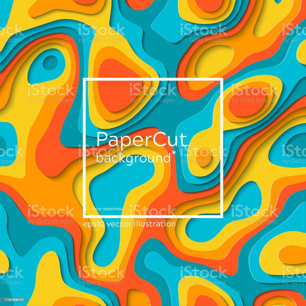 Non-seamless grey-blue futuristic papercut print. Vector multi...