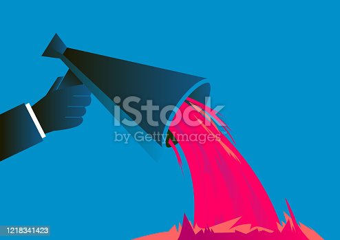 istock Nonsense, sewage shot out of the megaphone 1218341423