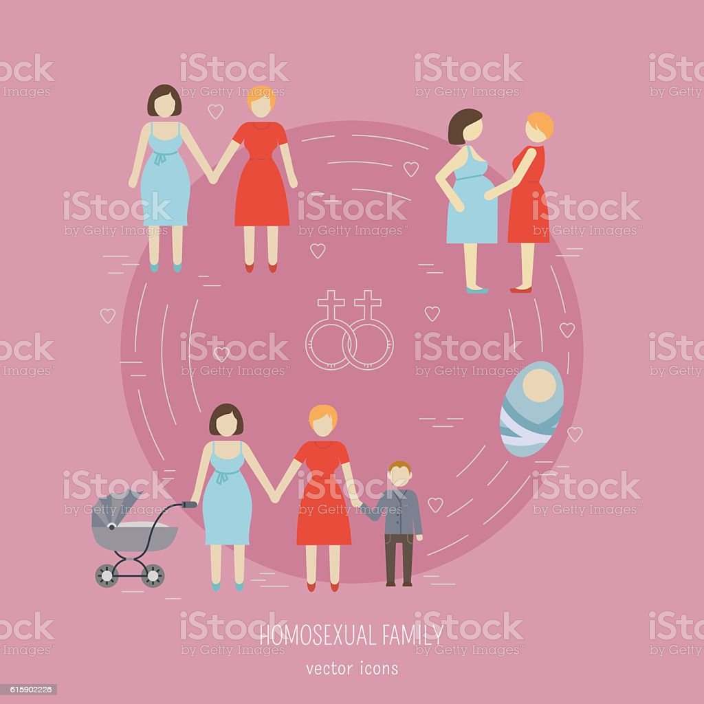 Nontraditional family icons - Illustration vectorielle