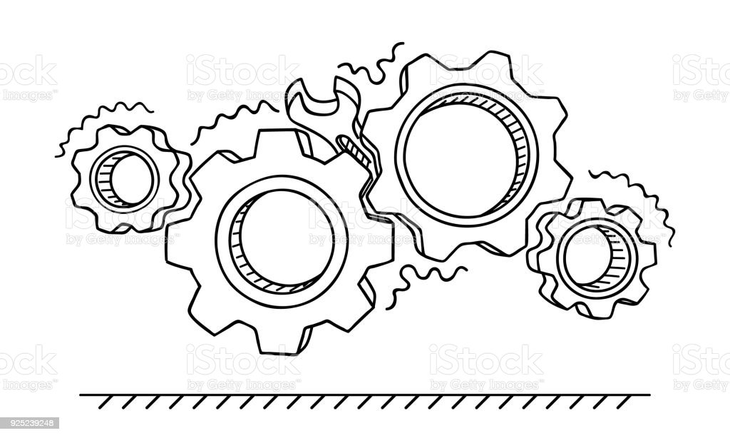 Non-working gears. Broken mechanism with a wrench vector illustration. Jammed mechanism vector art illustration