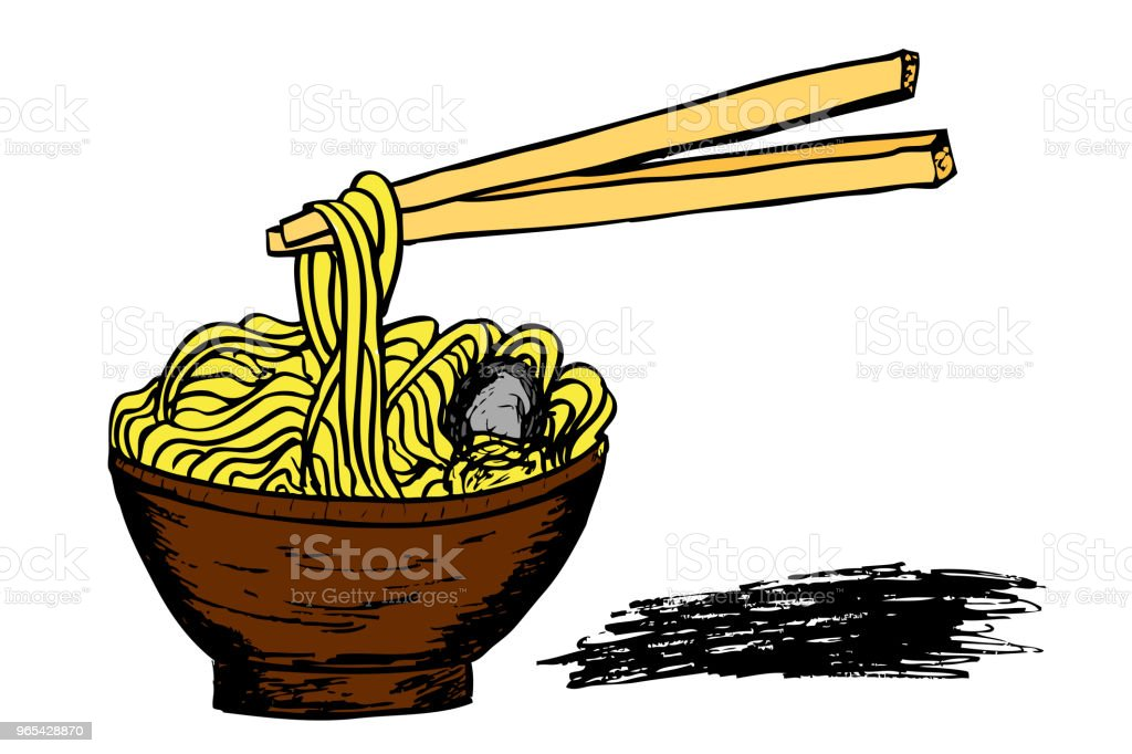 Noodle at Bowl  and Chopstick royalty-free noodle at bowl and chopstick stock vector art & more images of asia