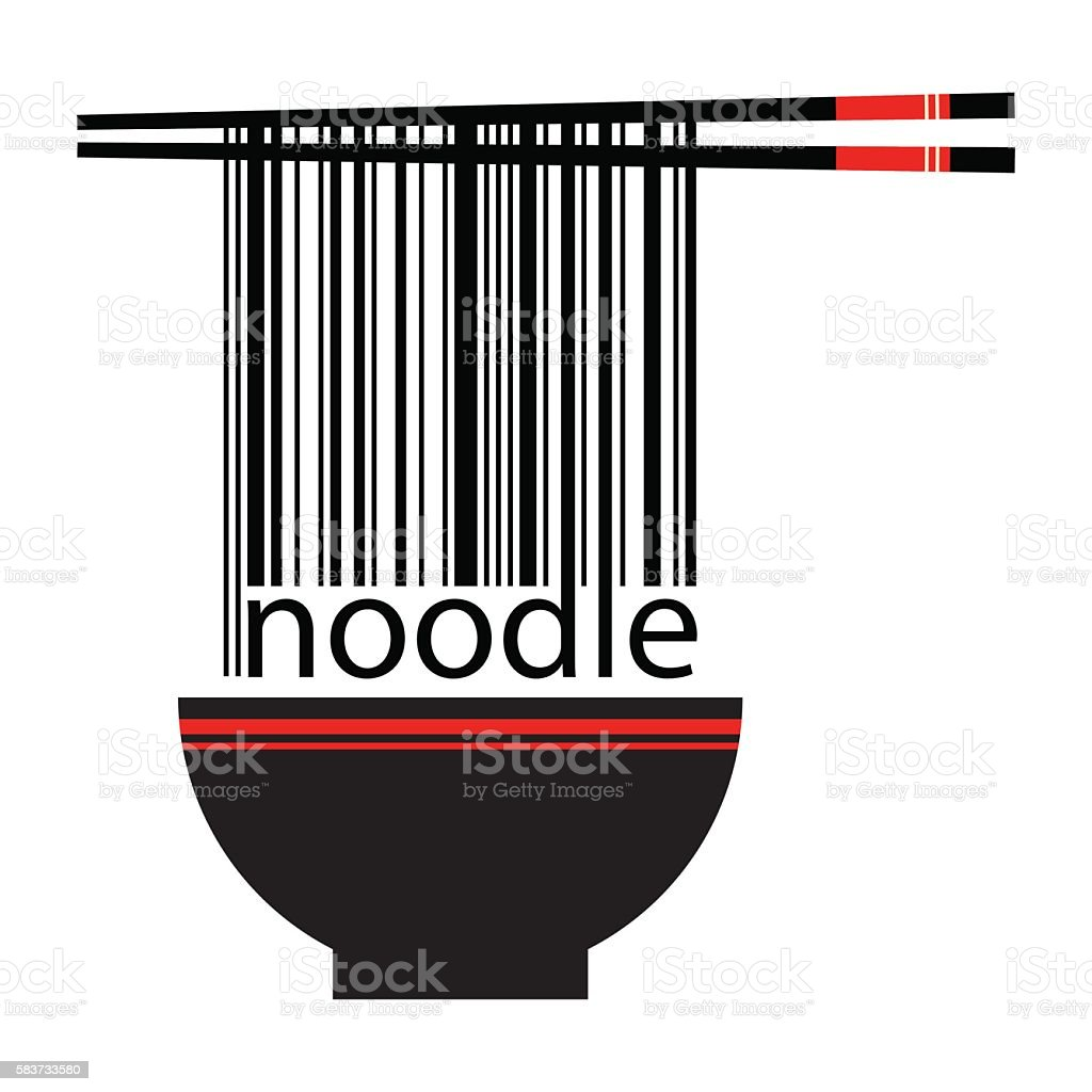 Noodle Barcode With Chopstick And Bowl vector art illustration