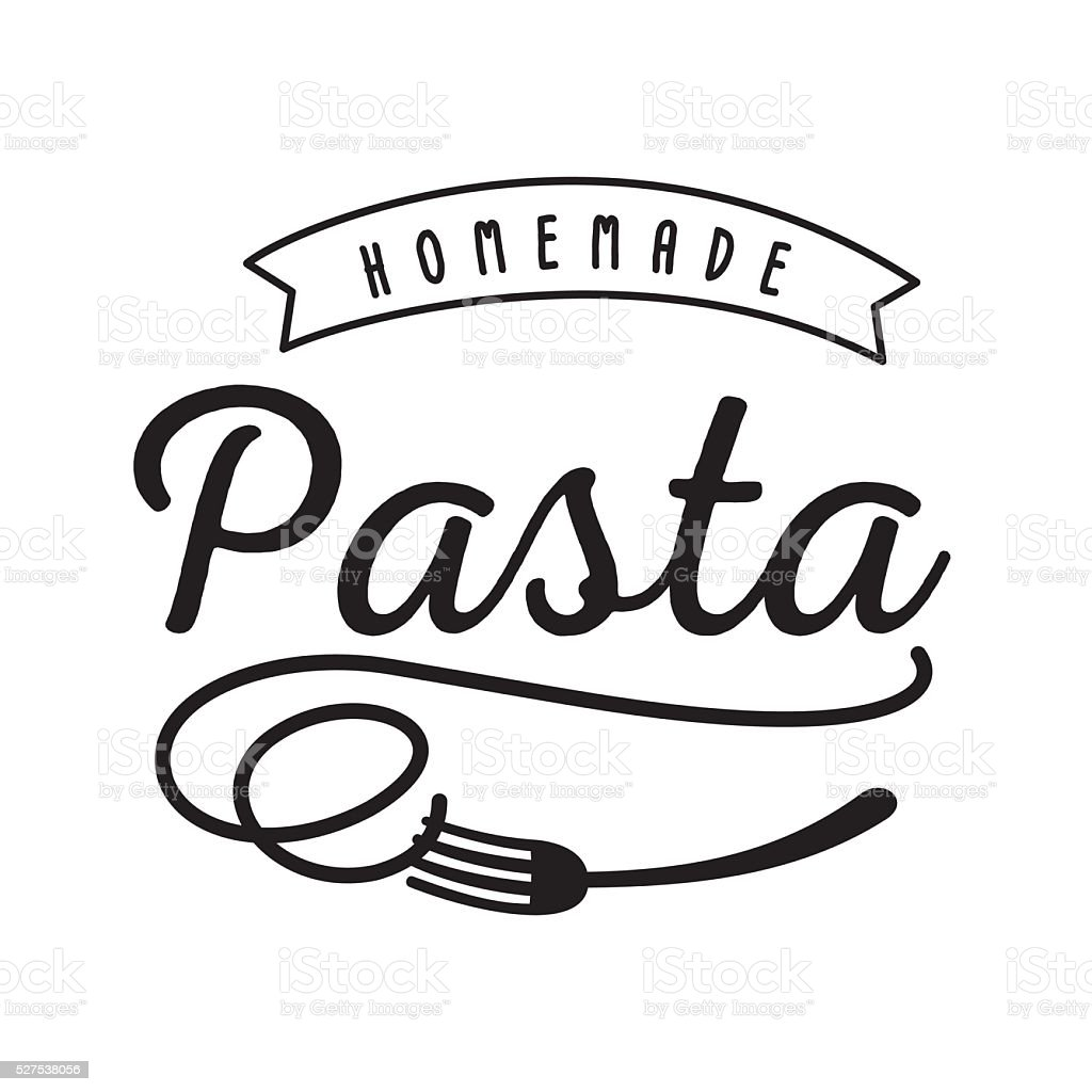 noodle homemade pasta logo with fork icon vector art illustration