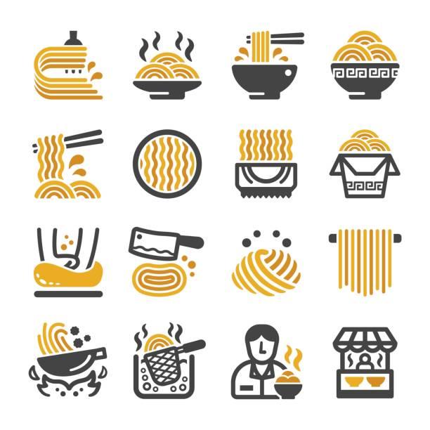 麺のアイコンを設定 - ラーメン点のイラスト素材/クリップアート素材/マンガ素材/アイコン素材