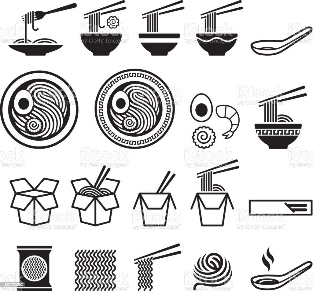 Noodle icons set. Noodle icons set. Asia stock vector