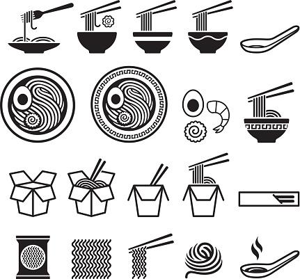 Noodle Icons Set Stock Illustration - Download Image Now