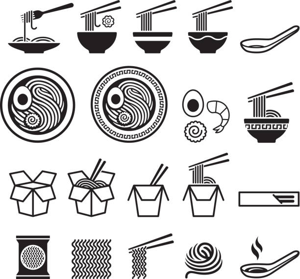 illustrazioni stock, clip art, cartoni animati e icone di tendenza di noodle icons set. - pasta
