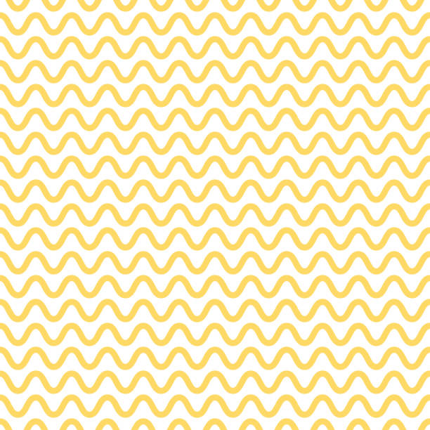 illustrazioni stock, clip art, cartoni animati e icone di tendenza di noodle seamless pattern. yellow and white waves. abstract wavy background. vector - pasta