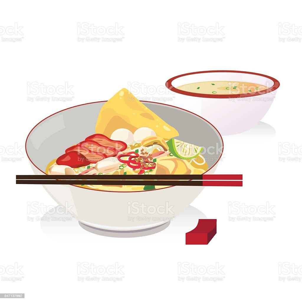 noodle vector art illustration