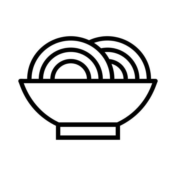 Nudeln Schüssel essen – Vektorgrafik