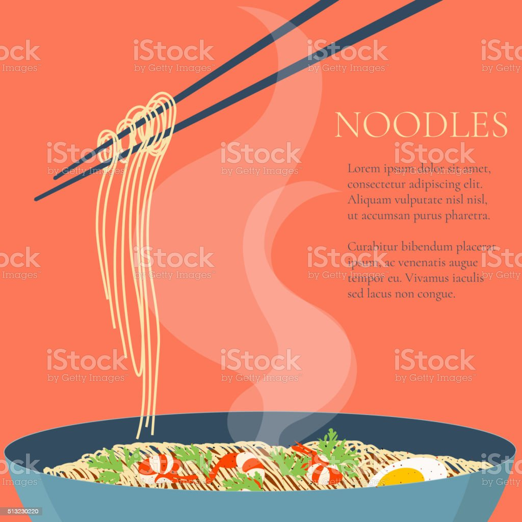 Noodles design template vector art illustration