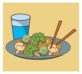 Noodles fast food combo cartoon vector illustration graphic design