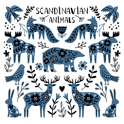 Nordic animals. Cute wild creatures, bear and deers image between branches and berries