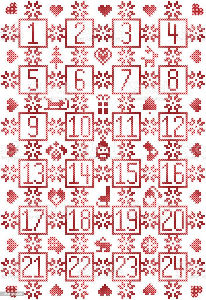 Nordic Christmas advent calendar with snowflake, decorative ornaments, bauble reindeer, vector art illustration