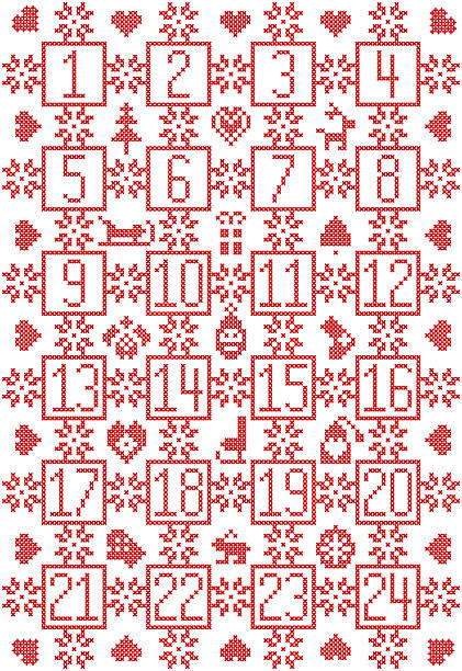 Nordic Christmas advent calendar with snowflake, decorative ornaments, bauble reindeer, - ilustración de arte vectorial