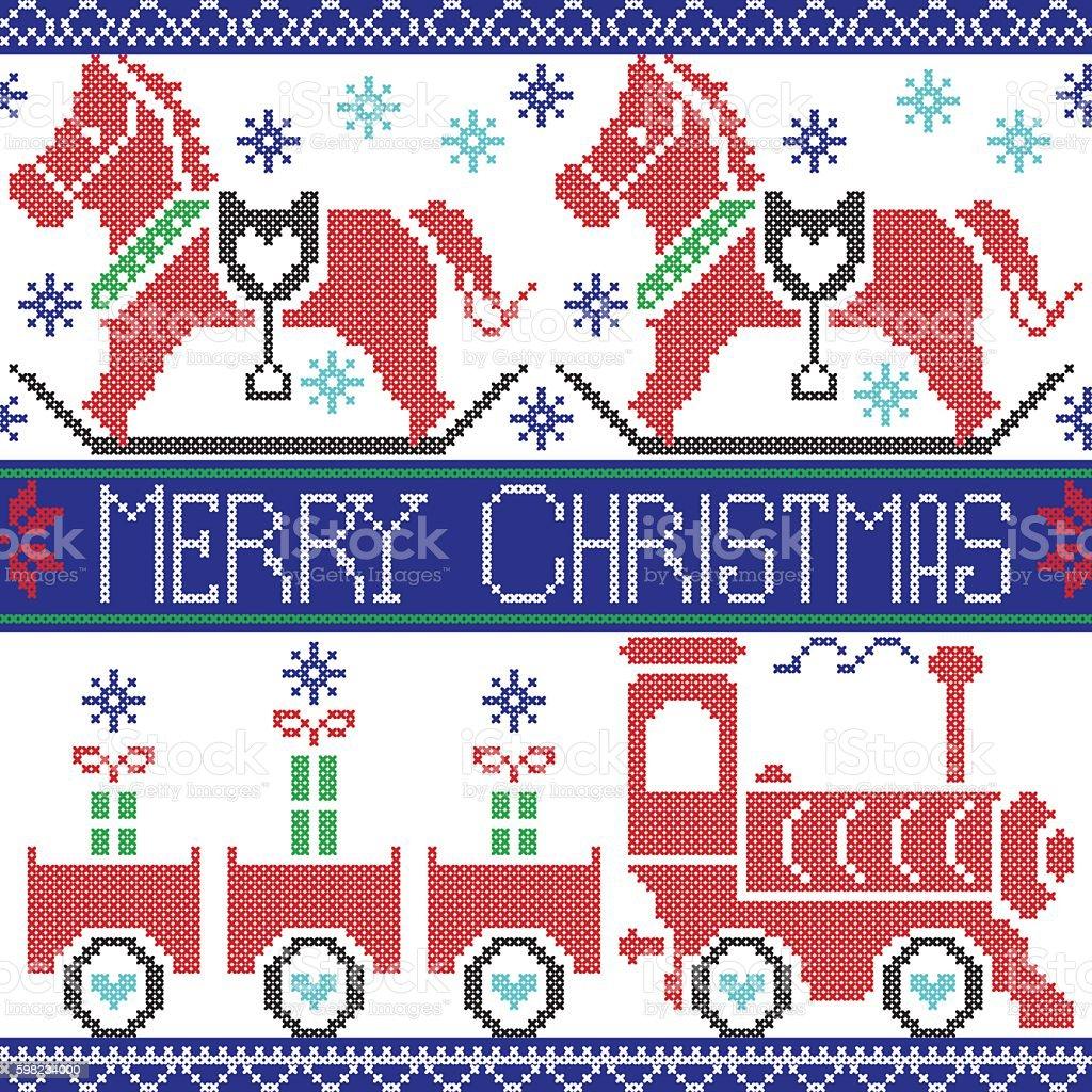 Nordic Christmas Merry Christmas pattern with rocking horse, train ilustração de nordic christmas merry christmas pattern with rocking horse train e mais banco de imagens de animal royalty-free