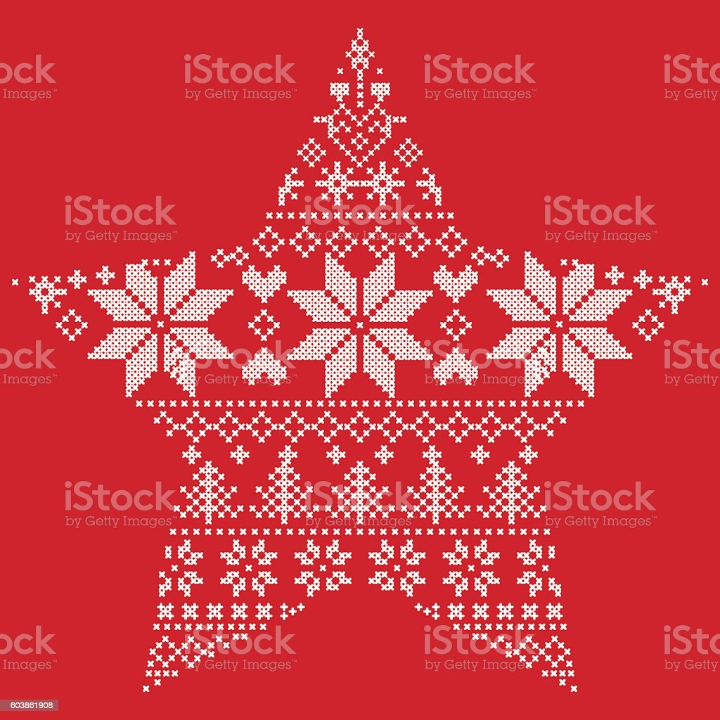 nordic christmas pattern in star shape on red background royalty free nordic christmas pattern in - Nordic Christmas