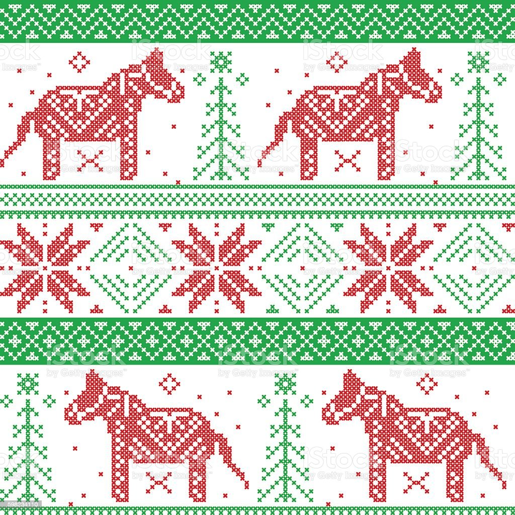 Nordic Christmas pattern with Danish style Dala horse ilustração de nordic christmas pattern with danish style dala horse e mais banco de imagens de animal royalty-free