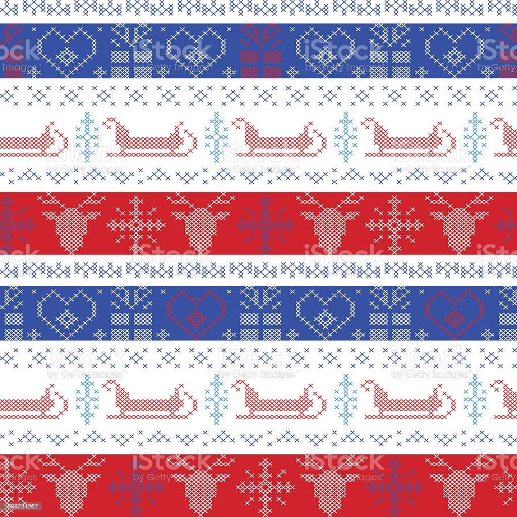 Nordic Christmas pattern with reindeer, sleigh, star, heart, snowflake ilustração de nordic christmas pattern with reindeer sleigh star heart snowflake e mais banco de imagens de arte e artesanato - assunto royalty-free