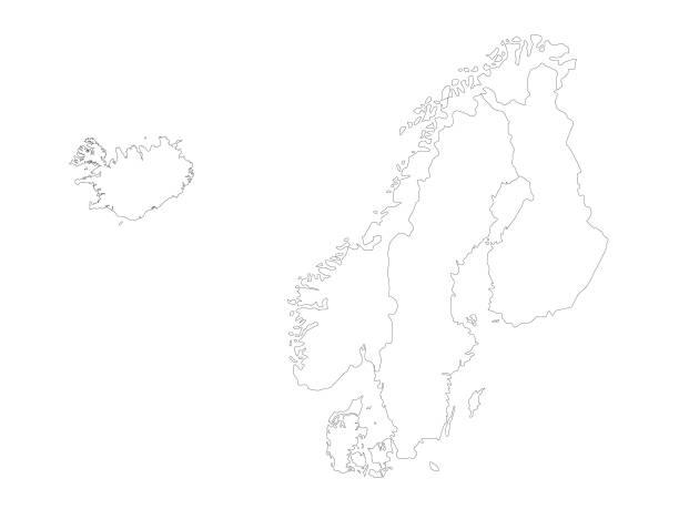 stockillustraties, clipart, cartoons en iconen met kaart van de noordse landen - noordse landen