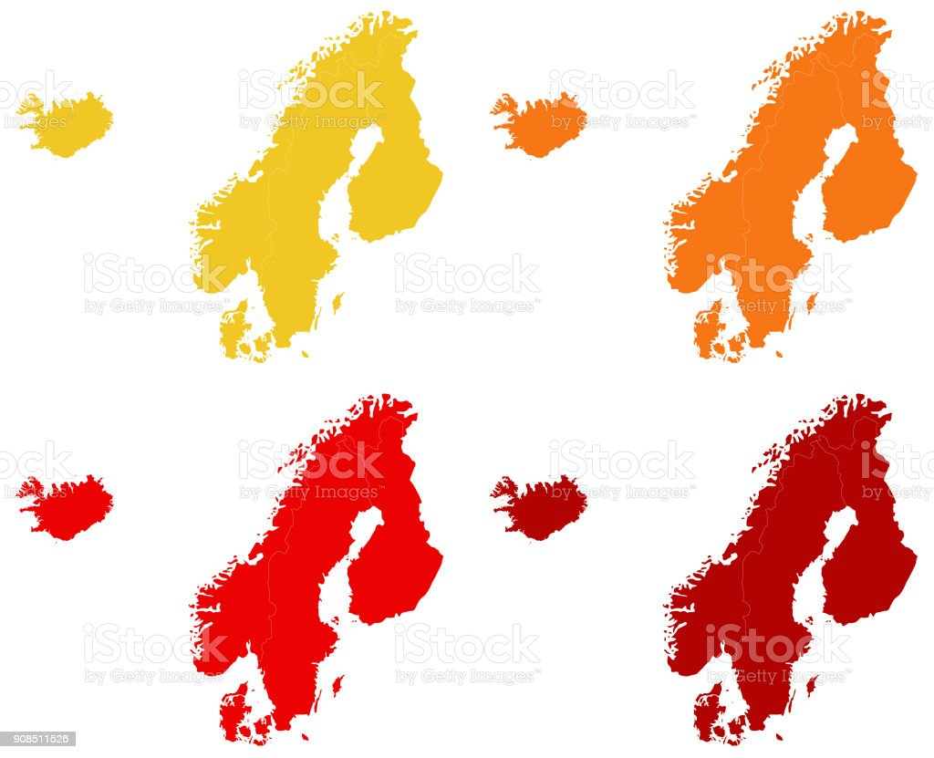 Nordic Europe Map.Nordic Countries Maps Stock Vector Art More Images Of Cartography