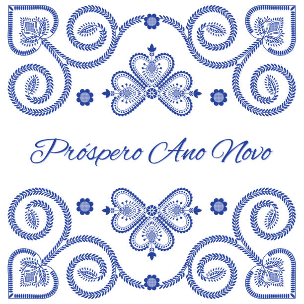 ilustrações de stock, clip art, desenhos animados e ícones de nordic folk art season card vector template. prospero ano novo - happy new year in portuguese language. folklore style design background in blue and white for banner, party invitation, poster. - viana do castelo
