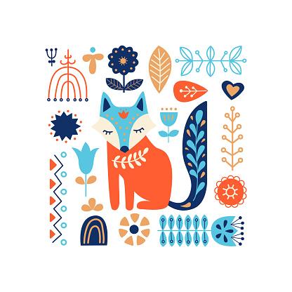Nordic ornaments, folk art pattern. Scandinavian style. Fox and forest flowers. Vector illustration.