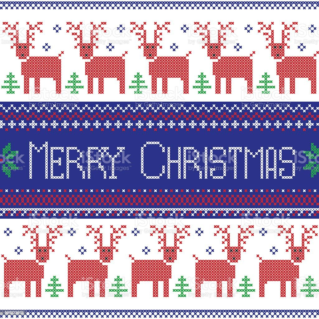 Nordic pattern in cross stitch with reindeer, snowflake, tree, stars ilustração de nordic pattern in cross stitch with reindeer snowflake tree stars e mais banco de imagens de animal royalty-free