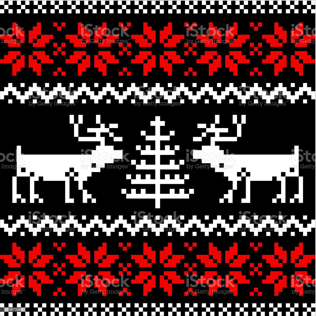 Nordic pattern on black vector art illustration