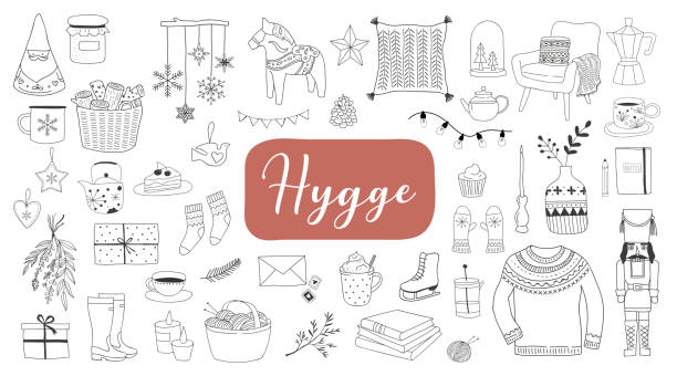 ilustrações de stock, clip art, desenhos animados e ícones de nordic, scandinavian winter elements and hygge concept design, merry christmas card, banner, background - hygge