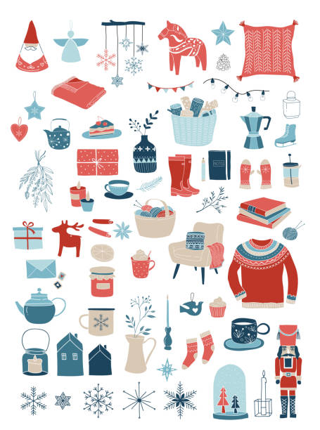 Nordic, Scandinavian winter elements and Hygge concept design, Merry Christmas card, banner, background Nordic, Scandinavian winter elements and Hygge concept design, Merry Christmas card, banner, background, hand drawn vector illustrations mitten stock illustrations