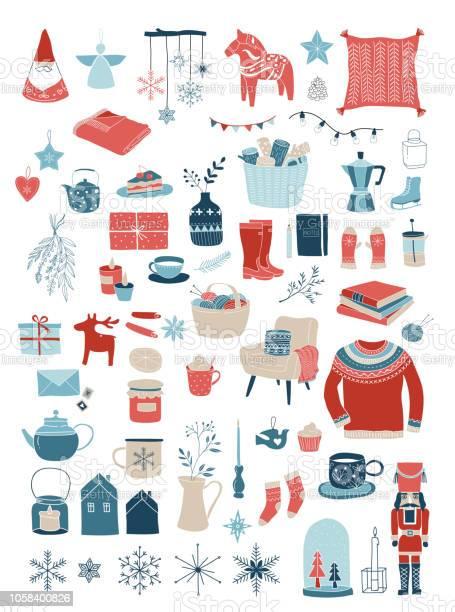 Nordic Scandinavian Winter Elements And Hygge Concept Design Merry Christmas Card Banner Background - Arte vetorial de stock e mais imagens de Aconchegante